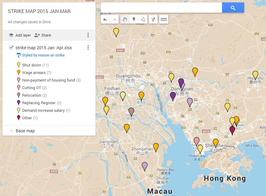 圖 4. 2015年1-3月網路上有紀錄的工人集體行動